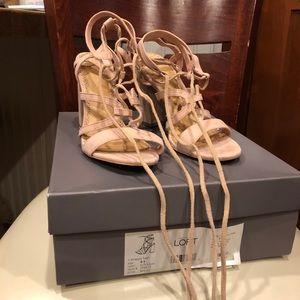 Loft Soft Pink Lace-up Heels